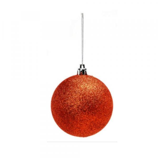 Orange Shatterproof Glitter Ball
