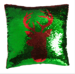 Green and Red Sequin Reindeer Cushion