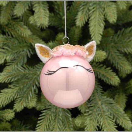 Pink Unicorn Glass Ball